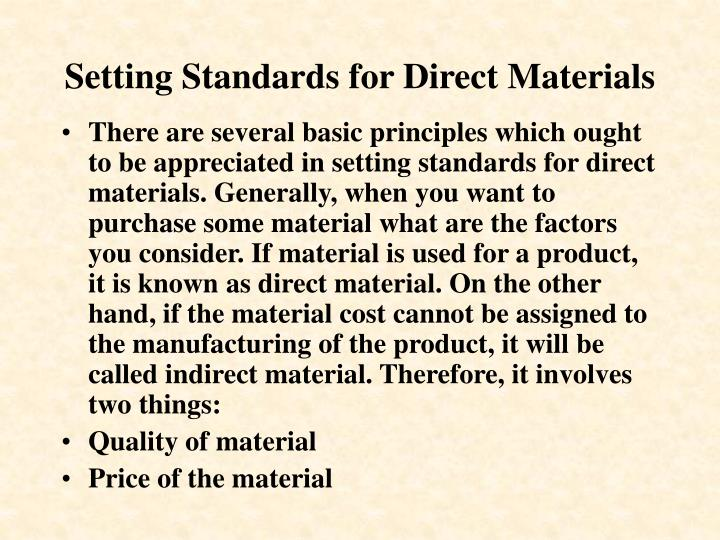 Setting Standards for Direct Materials