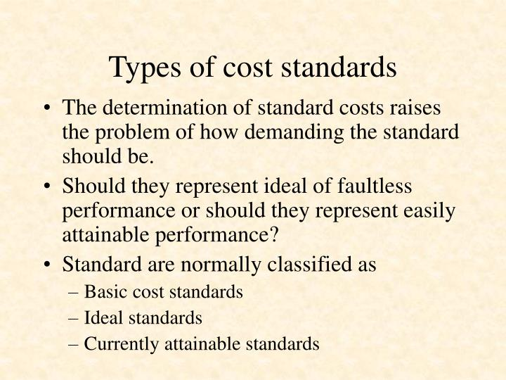 Types of cost standards