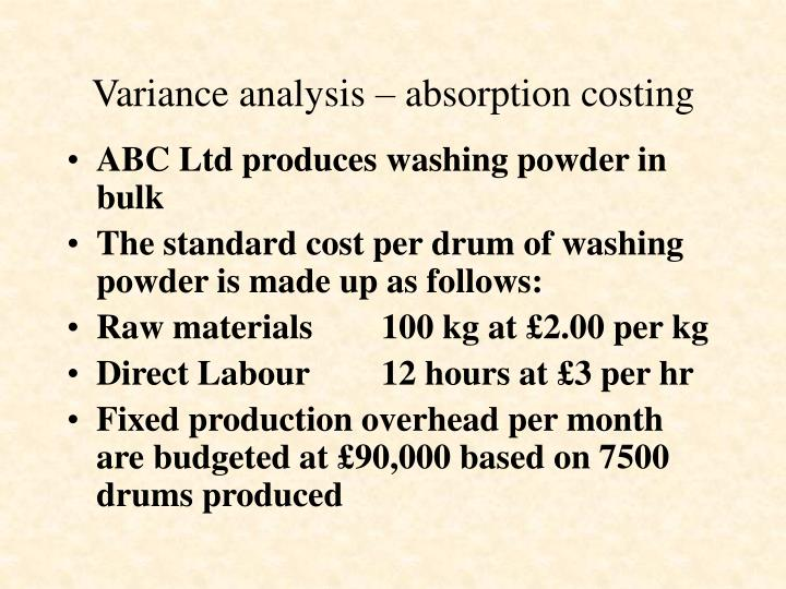 Variance analysis – absorption costing