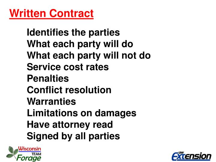 Written Contract