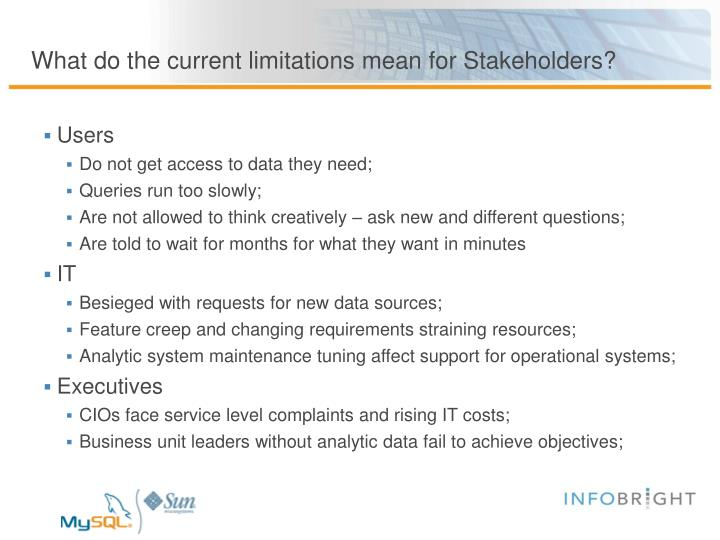 What do the current limitations mean for Stakeholders?