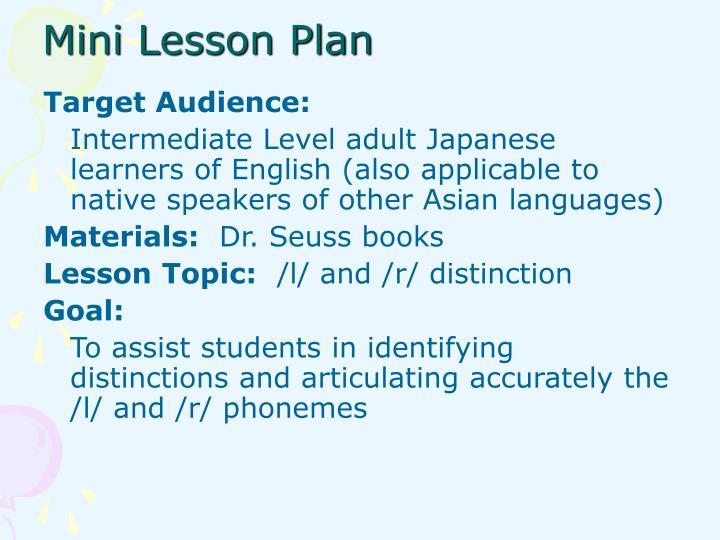 Mini Lesson Plan