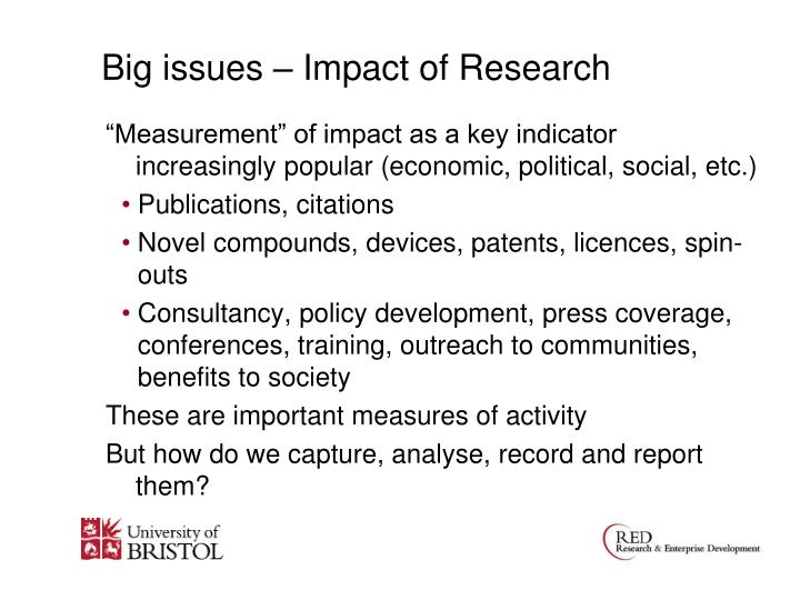Big issues – Impact of Research