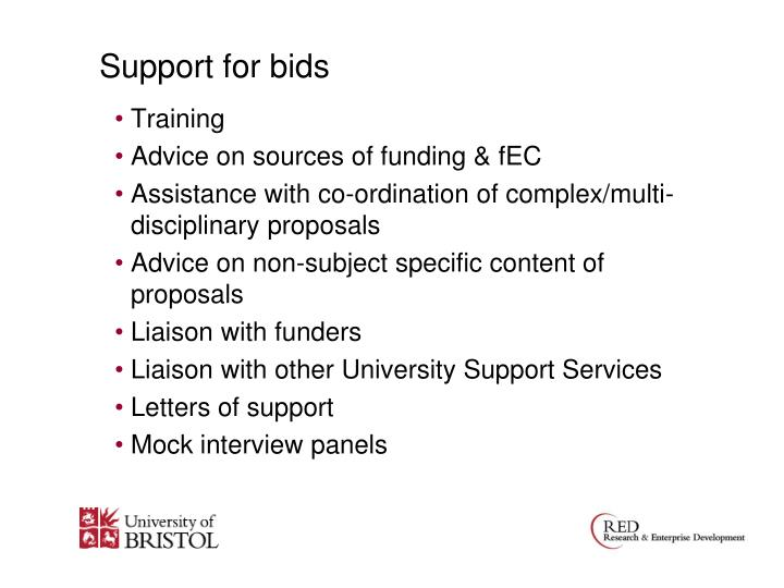 Support for bids