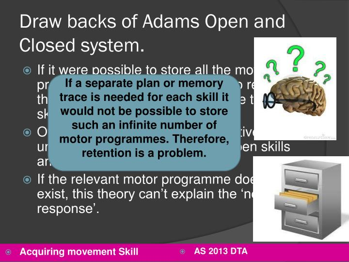 Draw backs of Adams Open and Closed system.