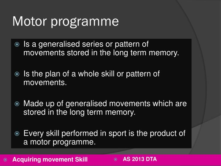 Motor programme