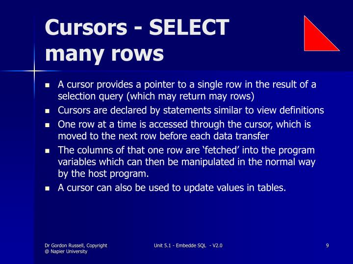 Cursors - SELECT many rows