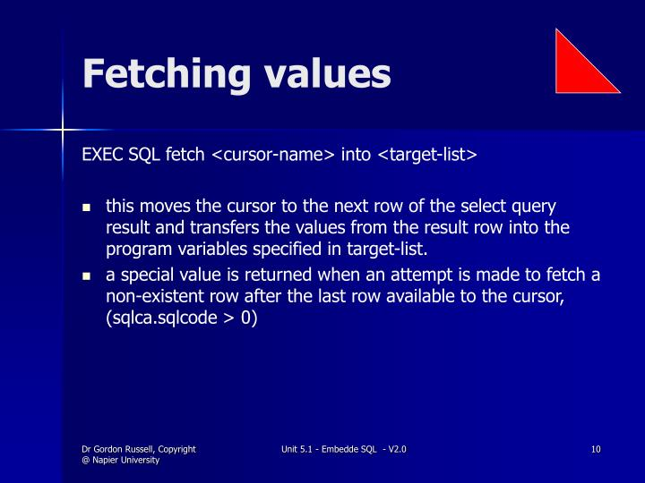 Fetching values