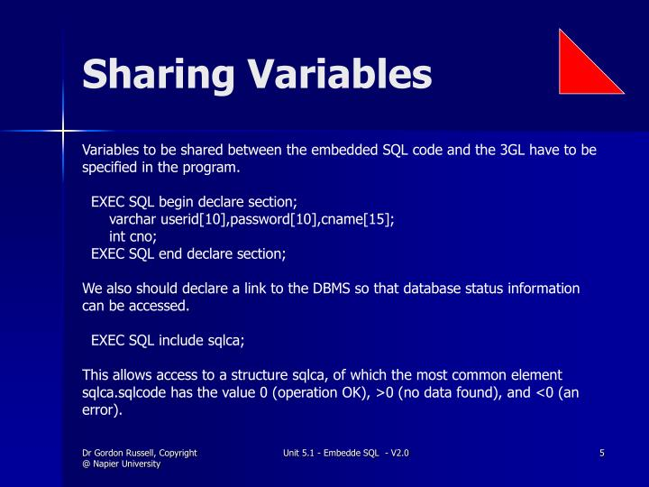 Sharing Variables