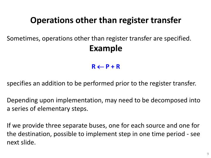 Operations other than register transfer