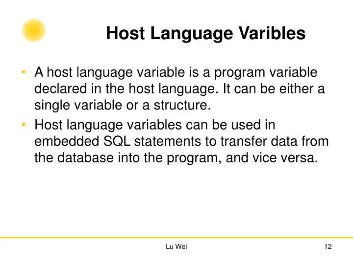Host Language Varibles