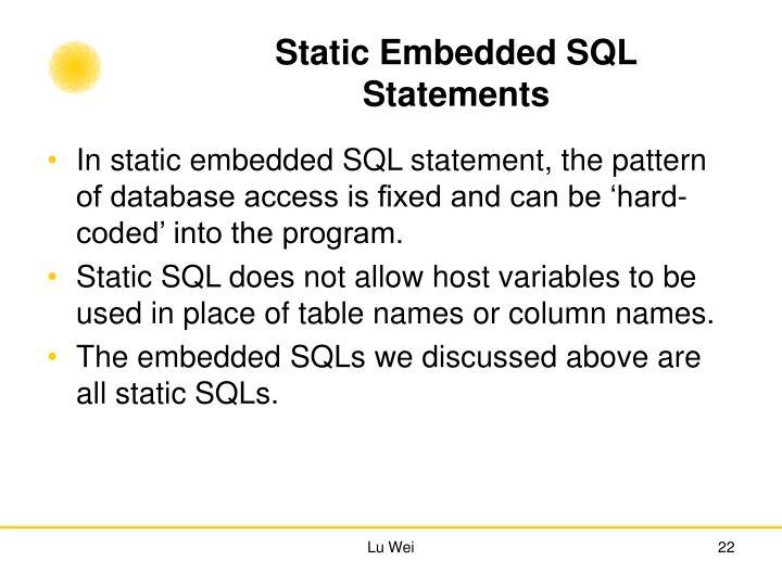 Static Embedded SQL Statements