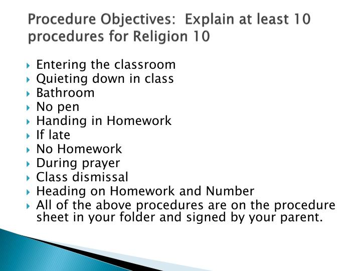 Procedure objectives explain at least 10 procedures for religion 10