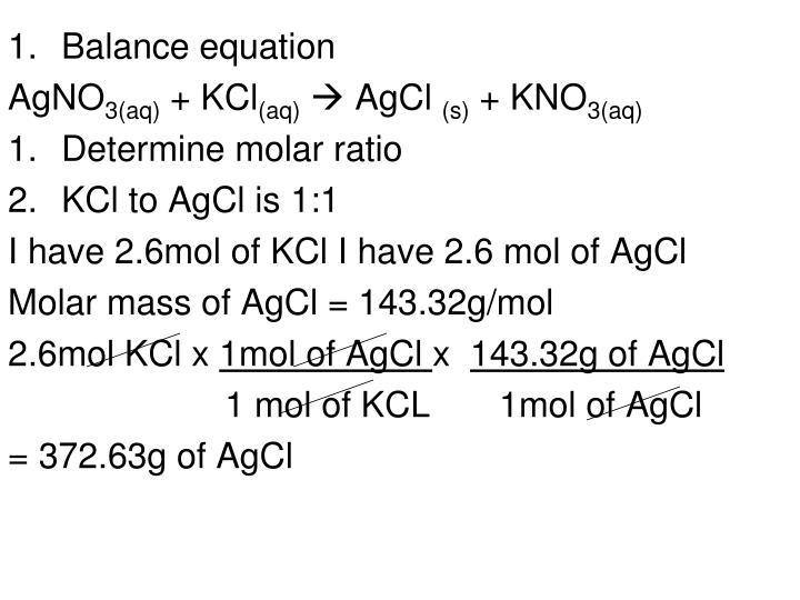 Balance equation