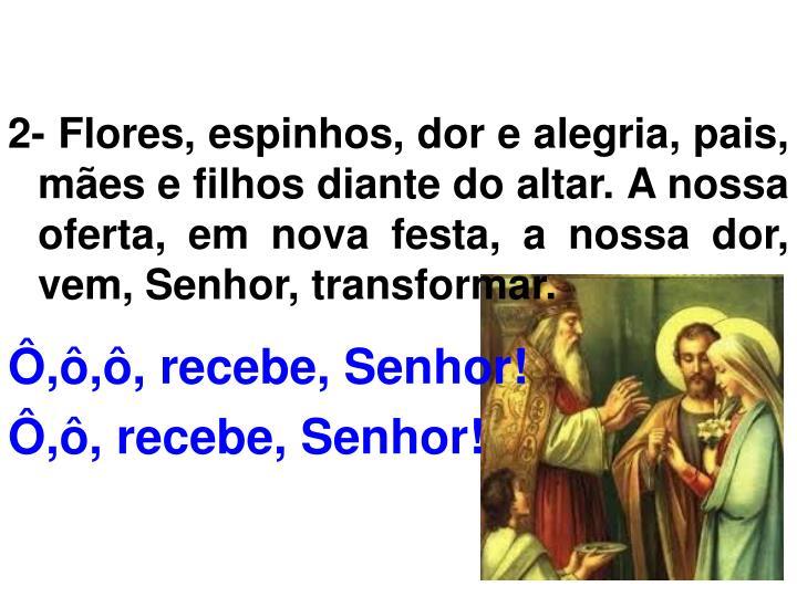 2- Flores, espinhos, dor e alegria, pais, mães e filhos diante do altar. A nossa oferta, em nova festa, a nossa dor, vem, Senhor, transformar.