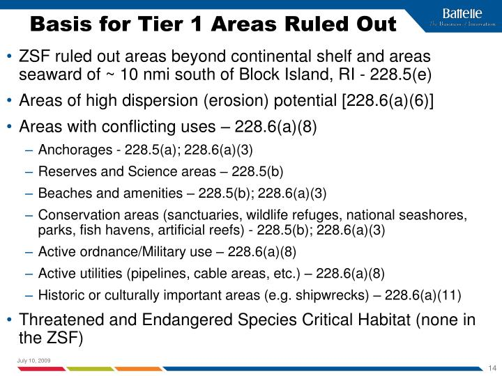 Basis for Tier 1 Areas Ruled Out