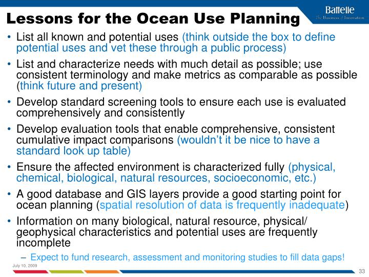 Lessons for the Ocean Use Planning