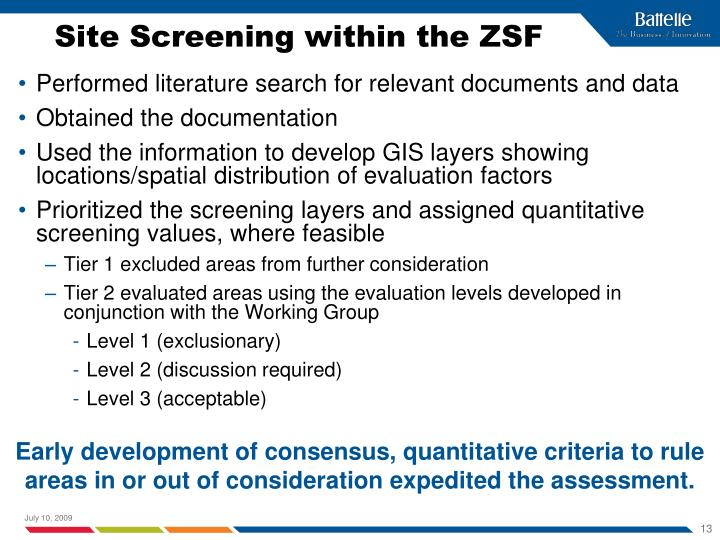 Site Screening within the ZSF