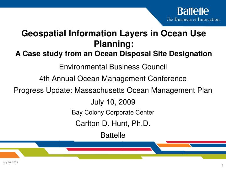 Geospatial Information Layers in Ocean Use Planning: