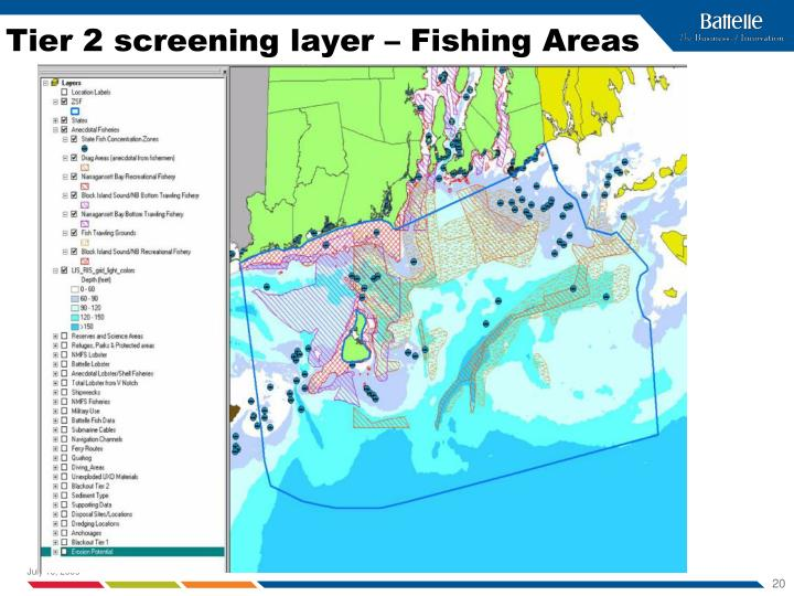 Tier 2 screening layer – Fishing Areas