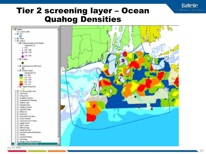 Tier 2 screening layer – Ocean Quahog Densities