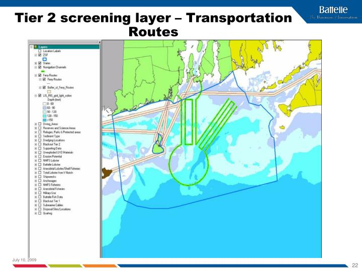 Tier 2 screening layer – Transportation Routes