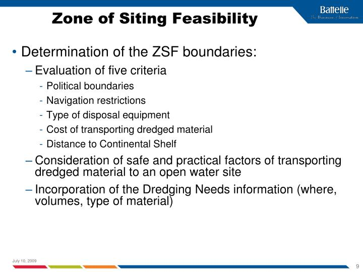 Zone of Siting Feasibility