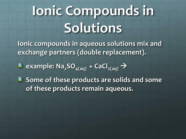Ionic Compounds in Solutions