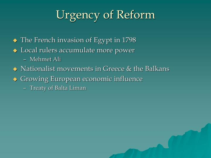 Urgency of Reform