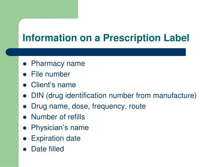 Information on a Prescription Label