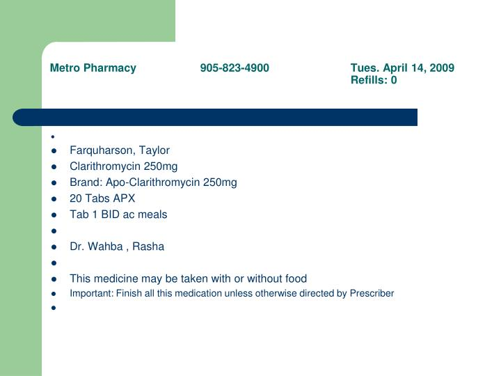 Metro Pharmacy905-823-4900Tues. April 14, 2009