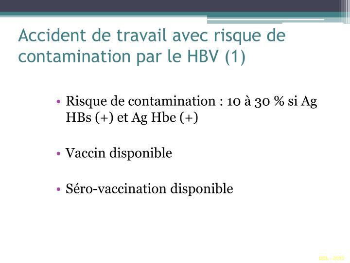 Accident de travail avec risque de contamination par le HBV (1)