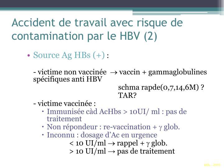Accident de travail avec risque de contamination par le HBV (2)