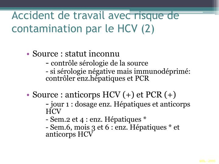Accident de travail avec risque de contamination par le HCV (2)