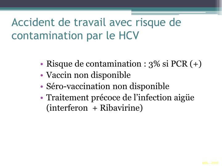 Accident de travail avec risque de contamination par le HCV