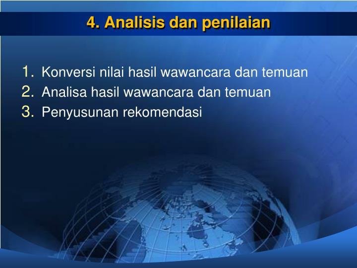 4. Analisis dan penilaian