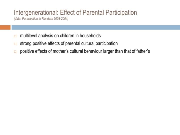 Intergenerational: Effect of Parental Participation