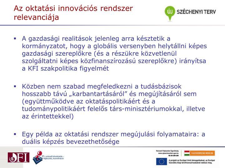 Az oktatási innovációs rendszer relevanciája