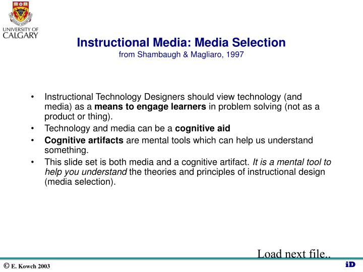 Instructional Media: Media Selection
