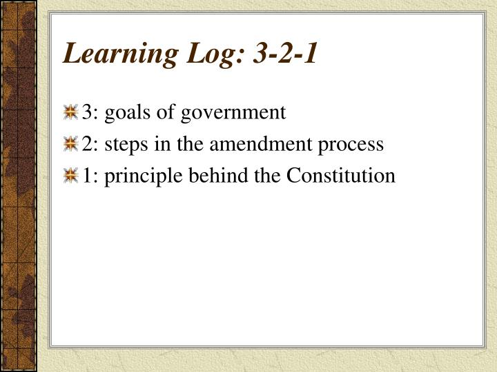 Learning Log: 3-2-1