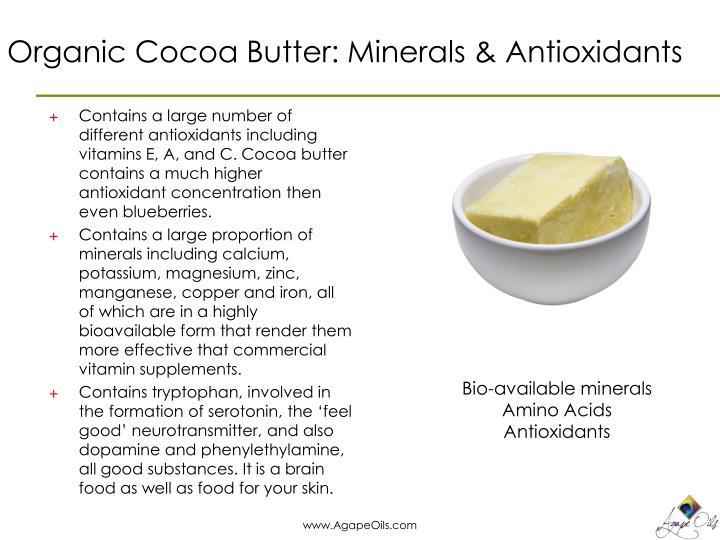 Organic Cocoa Butter: Minerals & Antioxidants