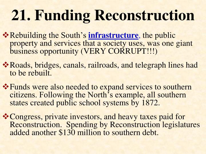 21. Funding Reconstruction