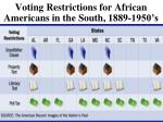 voting restrictions for african americans in the south 1889 1950 s