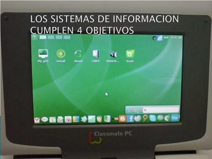 LOS SISTEMAS DE INFORMACION  CUMPLEN 4 OBJETIVOS