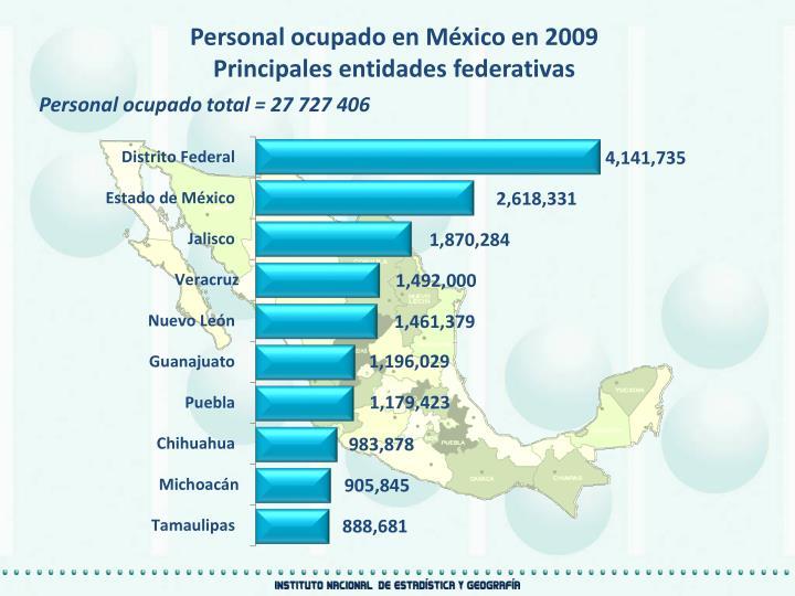 Personal ocupado en México en 2009