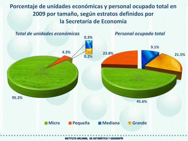 Porcentaje de unidades económicas y personal ocupado total en 2009 por tamaño, según estratos definidos por
