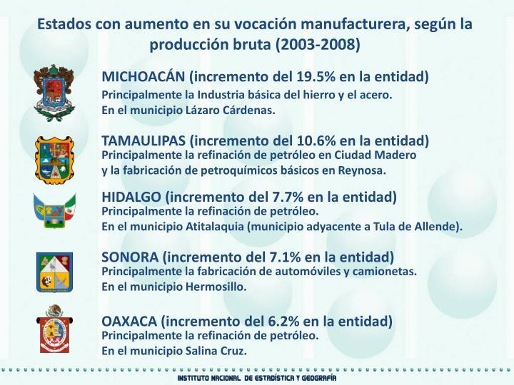 Estados con aumento en su vocación manufacturera, según la producción bruta (2003-2008)
