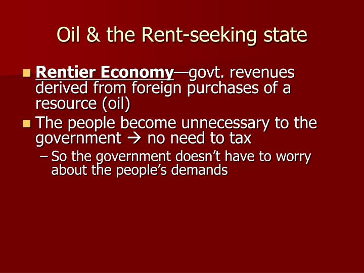 Oil & the Rent-seeking state