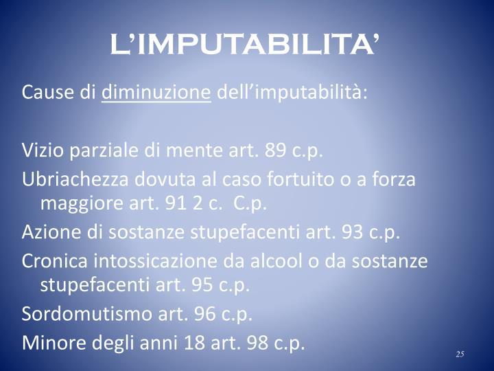 L'IMPUTABILITA'