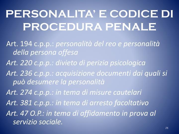 PERSONALITA' E CODICE DI
